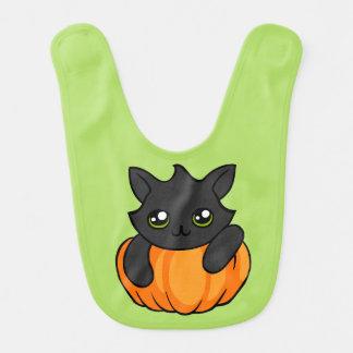 Cute Black Cat Pumpkin Drawing Halloween Baby Bib