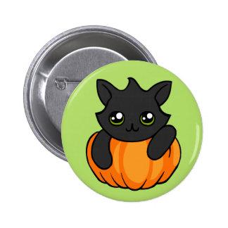 Cute Black Cat Pumpkin Drawing Halloween badge pin