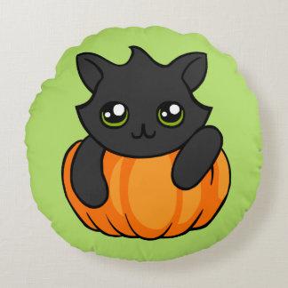 Cute Black Cat Pumpkin Drawing Halloween Cushion