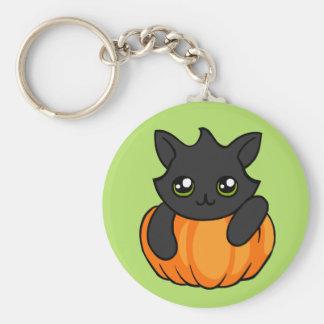 Cute Black Cat Pumpkin Drawing Halloween Keychain