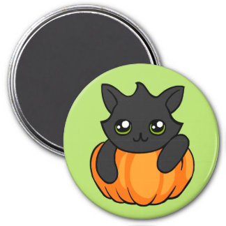 Cute Black Cat Pumpkin Drawing Halloween Magnet