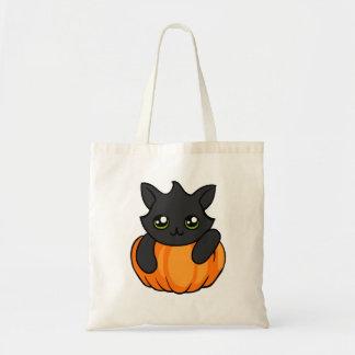 Cute Black Cat Pumpkin Drawing Trick or Treat Bag