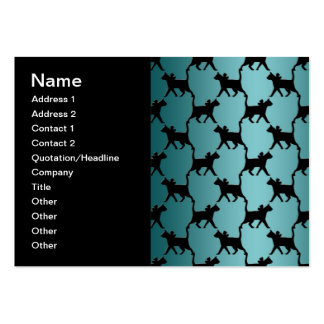 Cute Black Cat Silhouette Pattern on Teal Business Cards