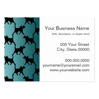 Cute Black Cat Silhouette Pattern on Teal Business Card