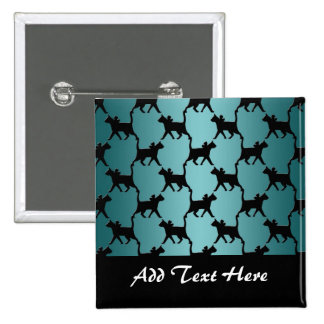 Cute Black Cat Silhouette Pattern on Teal Buttons