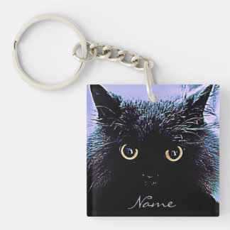 Cute Black Cat with Golden Eyes Double-Sided Square Acrylic Key Ring