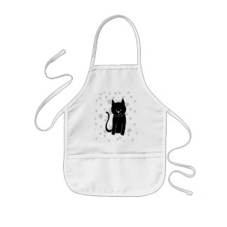 Cute Black Cat with Hearts. Kids' Apron
