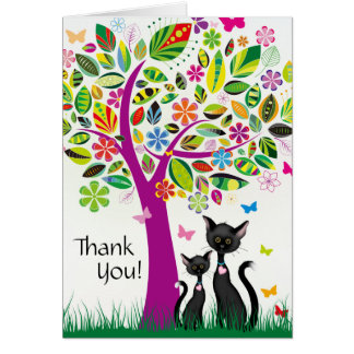 Cute Black Cats and Colorful Flower Tree Thank You Card