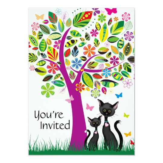 Cute Black Cats and Flower Tree Baby Shower Card