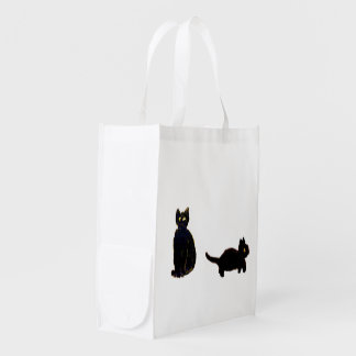 Cute Black Cats Art Reusable Grocery Bag