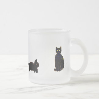 Cute Black Cats Frosted Glass Coffee Mug