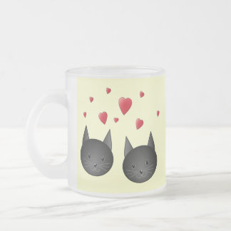 Cute Black Cats with Hearts, on cream. Frosted Glass Mug