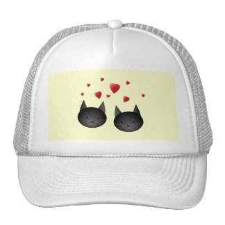 Cute Black Cats with Hearts on cream Trucker Hat