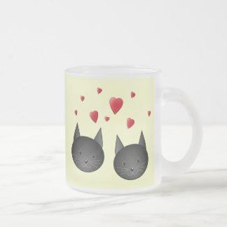 Cute Black Cats with Hearts, on cream. Mug