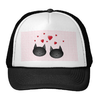 Cute Black Cats with Hearts on pale pink Custom Hat