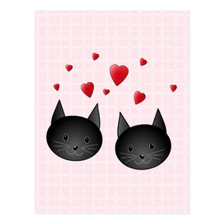 Cute Black Cats with Hearts, on pale pink. Postcard