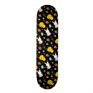 Cute black chick bunny egg basket easter pattern skateboard deck