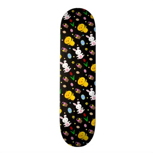 Cute black chick bunny egg basket easter pattern skateboard deck