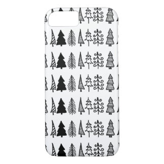 Cute Black Christmas Trees Drawing Holiday Pattern iPhone 8/7 Case