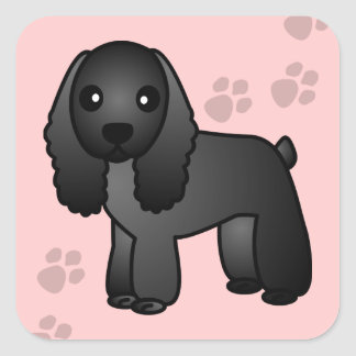 Cute Black Cocker Spaniel Cartoon Square Sticker