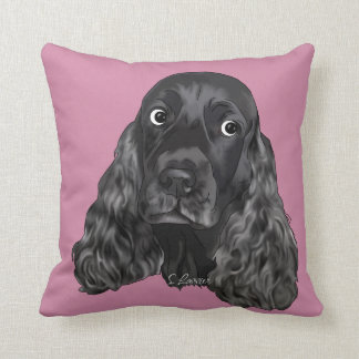 Cute Black Cocker Spaniel Dog Cushion