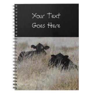 Cute Black Cow Calves Notebook