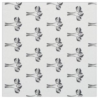 Cute Black Cream Art Deco Tulips Floral Pattern Fabric