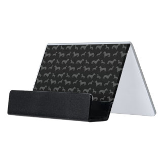 Cute black dachshund pattern desk business card holder