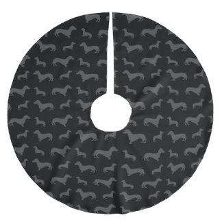 Cute black dachshund pattern brushed polyester tree skirt