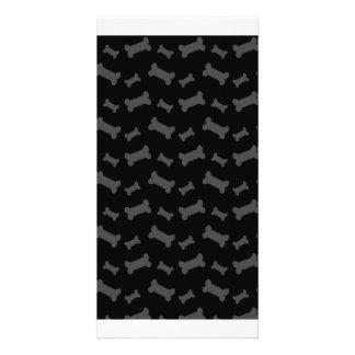 Cute black dog bones pattern photo card