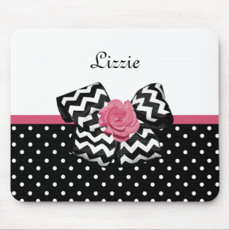 Cute Black Dots Pink Rose Chevron Bow and Name Mouse Pad