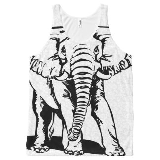Cute Black Elephant Line Drawing 2 All-Over Print Singlet