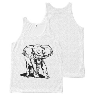 Cute Black Elephant Line Drawing All-Over Print Tank Top