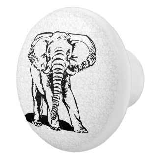 Cute Black Elephant Line Drawing Ceramic Knob
