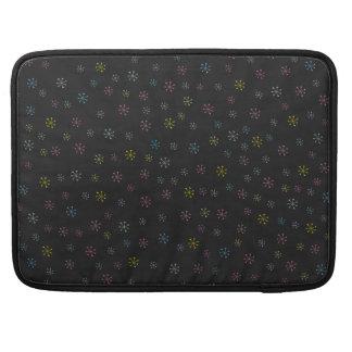 Cute black Flower Doodle Pattern Sleeves For MacBook Pro