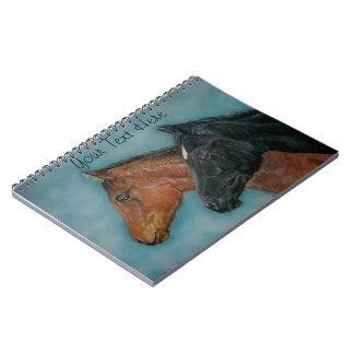 cute black foal chestnut foal colt portrait horse notebook