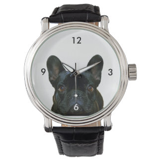 Cute Black French Bulldog Photograph Watch
