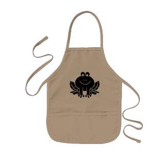 cute black frog kids apron