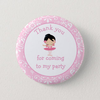 Cute Black Hair Ballerina 'Thank you for coming' 6 Cm Round Badge