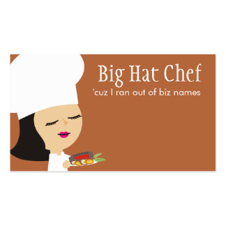 Cute black hair girl chef steak dinner biz cards business card templates
