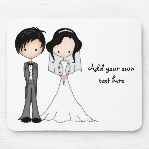 Cute Black Haired Bride and Groom Cartoon Mousepads