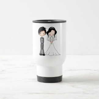 Cute Black Haired Bride and Groom Cartoon Travel Mug
