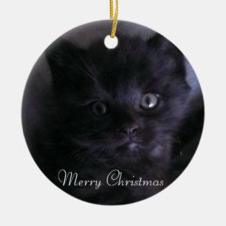 Cute Black Kitten Christmas Tree Ornament