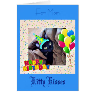 Cute Black Kitty Birthday Greeting Card