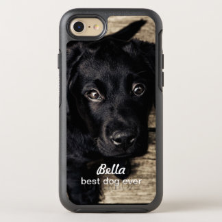 Cute Black Lab Puppy Dog Your Photo and Name OtterBox Symmetry iPhone 8/7 Case