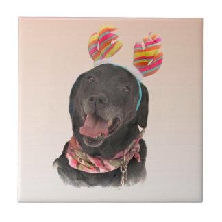 Cute Black Labrador Retriever Dog Ceramic Tile