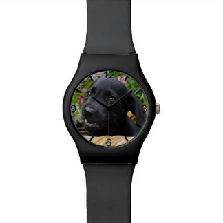 Cute Black Labrador Retriever Dog Puppy dial-plate Watch