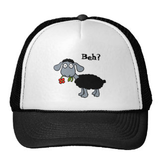 Cute Black Lamb Sheep with Red Flower Funny Cap