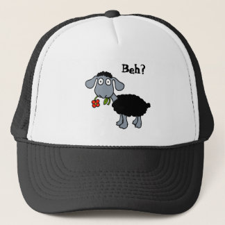 Cute Black Lamb Sheep with Red Flower Funny Trucker Hat