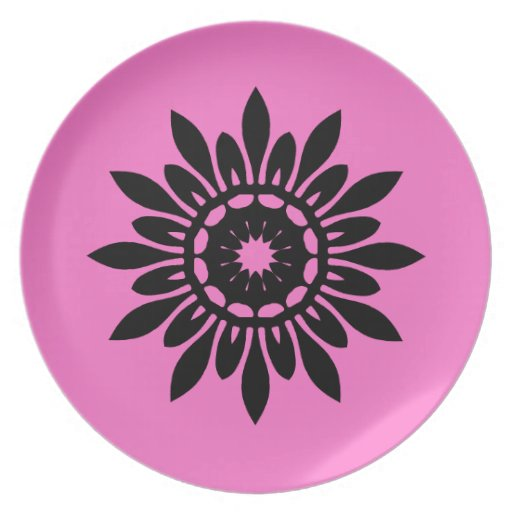 Cute black mandala flower on pink party plates